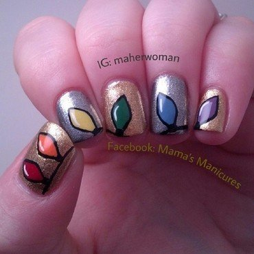 Rainbow Christmas Lights nail art by Mama's Manicures (maherwoman)