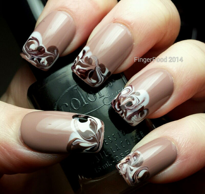 Coffee Marble (inspired by Robin Moses) nail art by Sam