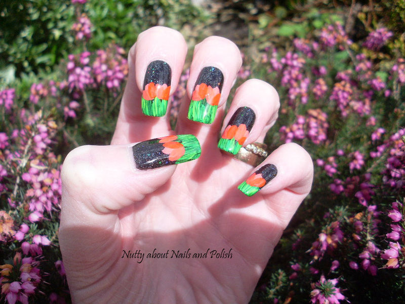 Field of Tulips nail art by Tracey - Bite no more
