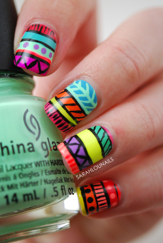 Neon Tribal Print Nail Art by