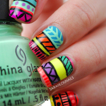 Neon Tribal Print nail art by Sarah S