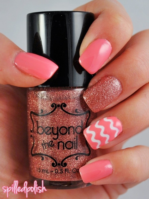 Pink Squiggles nail art by Maddy S
