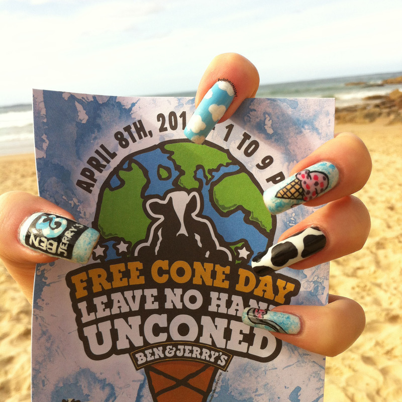 Ben & Jerry's nail art by Carrie