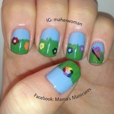 Rainbow flowers nail art by Mama's Manicures (maherwoman)