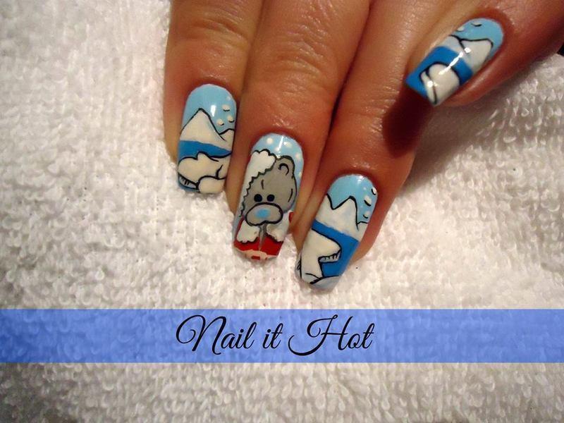 Teddy bear nail art by Nail_it_hot