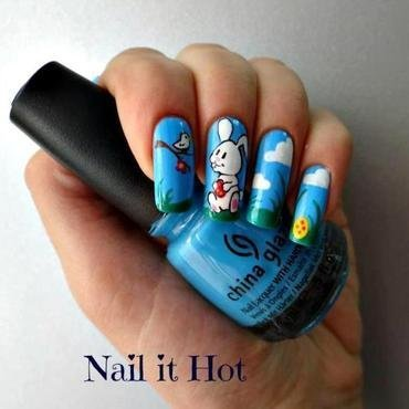 Easter bunny nail art by Nail_it_hot