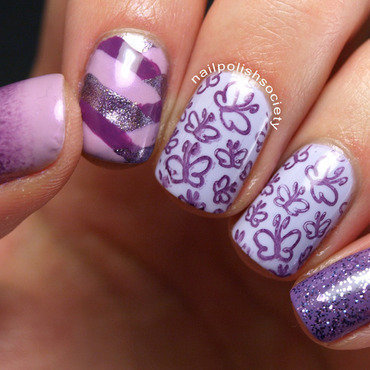 Purple Butterflies and Sparkles nail art by Emiline Harris