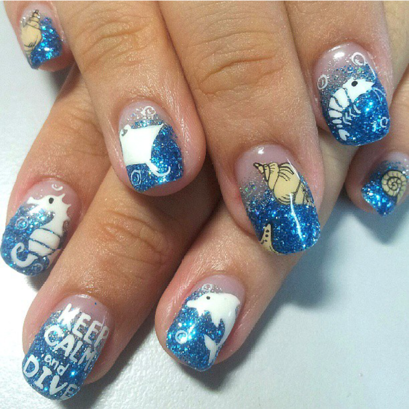 blur ocean nail art by Weiwei - Blur Ocean Nail Art By Weiwei - Nailpolis: Museum Of Nail Art