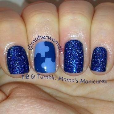 Blue Nails for Autism nail art by Mama's Manicures (maherwoman)