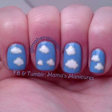 Cloud Nails with a Twist nail art by Mama's Manicures (maherwoman)