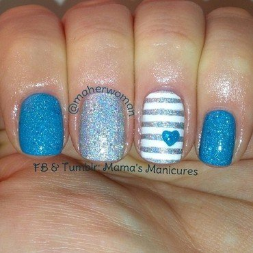 Amkuch15 in Blue! nail art by Mama's Manicures (maherwoman)