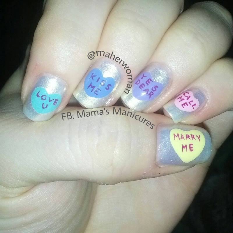 Sweetheart Candy Nails nail art by Mama's Manicures (maherwoman)