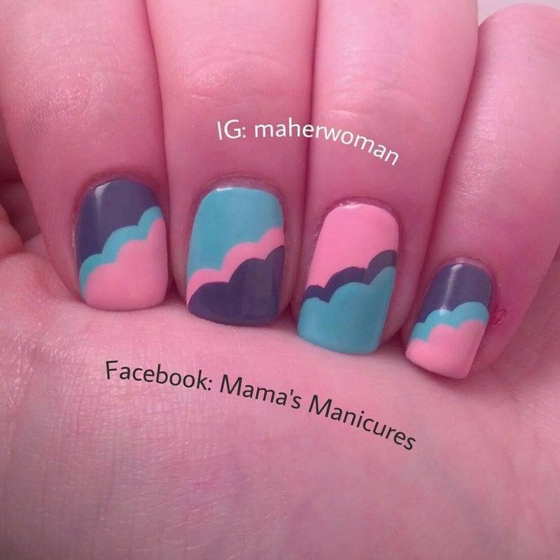 Cloud Nails, Version 2 nail art by Mama's Manicures (maherwoman)