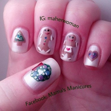 Christmas Cookies nail art by Mama's Manicures (maherwoman)