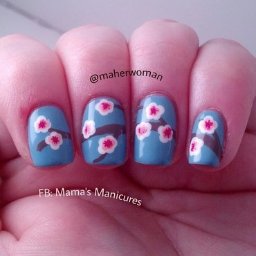 Cherry Blossom Nails nail art by Mama's Manicures (maherwoman)