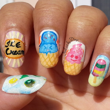 Cocktail and Ice cream nail art by Divya Pandey