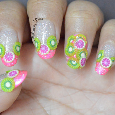 Kiwi and Citrus nail art by Divya Pandey
