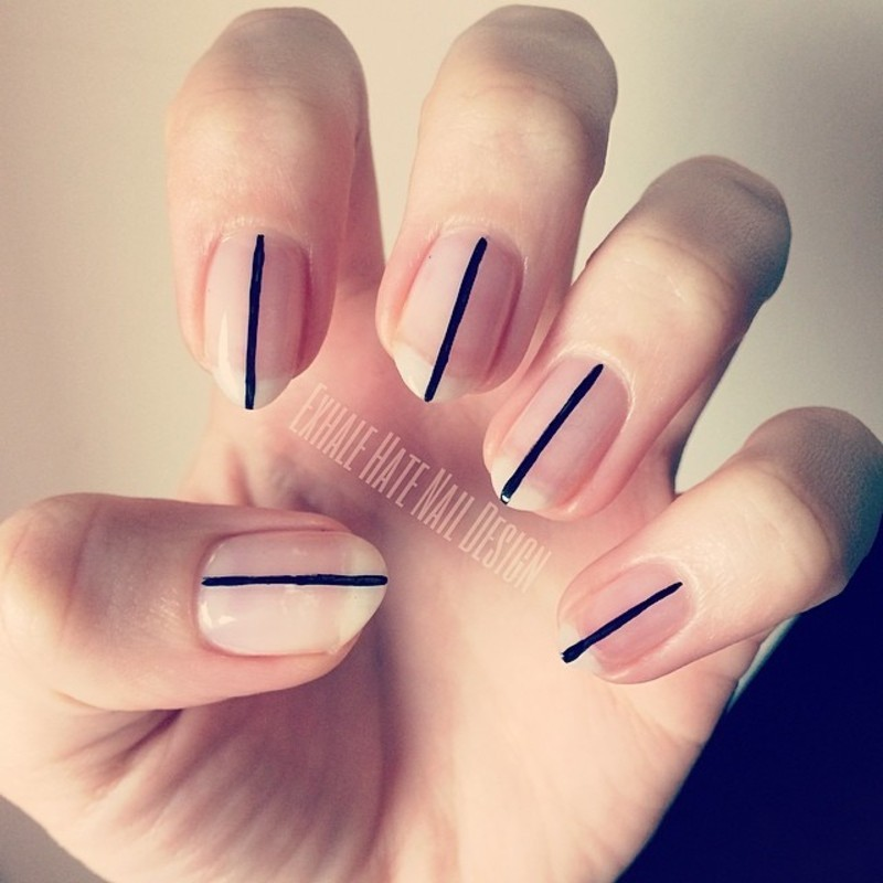Simple Stripe nail art by Courtney Haines