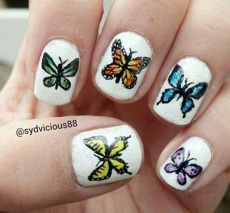 Butterflies nail art by SydVicious