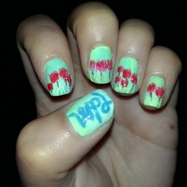 tulips for parkinsons nail art by JingTing Jaslynn