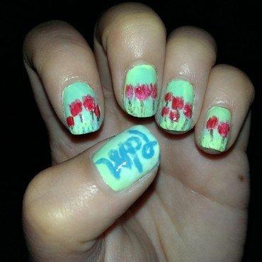 tulips for parkinsons nail art by JingTing Jaslynn