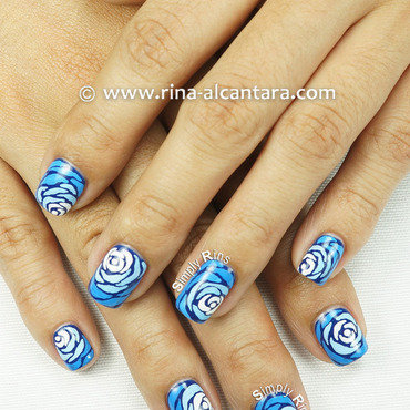 Blue Wave nail art by Rina Alcantara