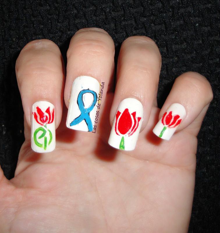 World Parkinson's Day nail art by Yolanda flores