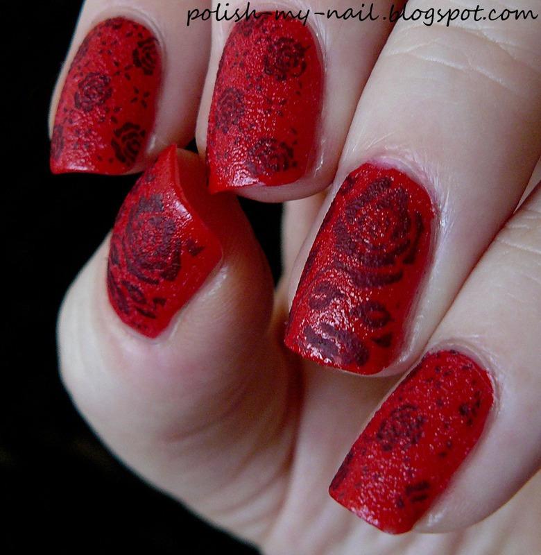 Black rose nail art by Ewlyn