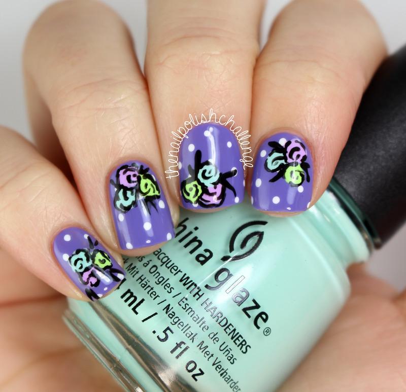 Polka Dot Floral Nail Art nail art by Kelli Dobrin