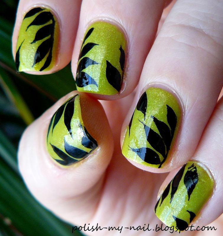 Black leaf nail art by Ewlyn
