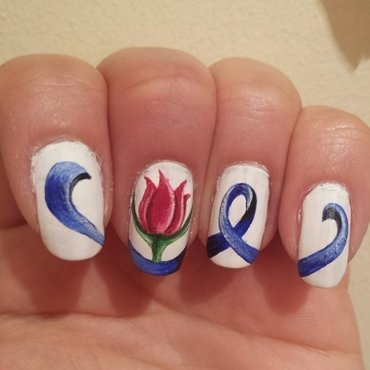 parkinsons day ribbon with tulip nail art by Danielle  Hails