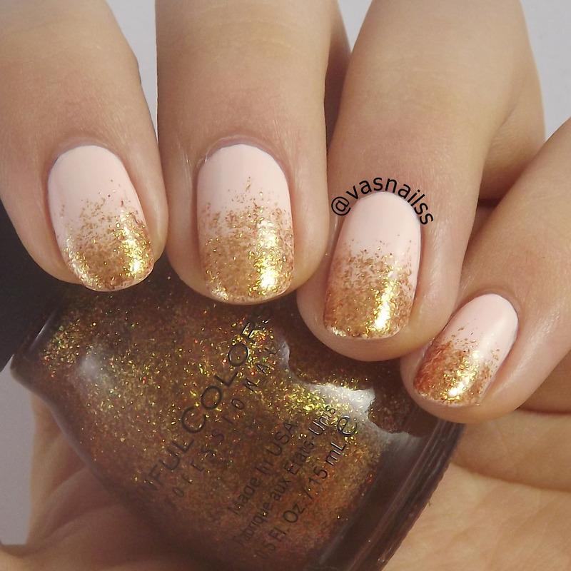 Glitter Gradient nail art by  Vanesa
