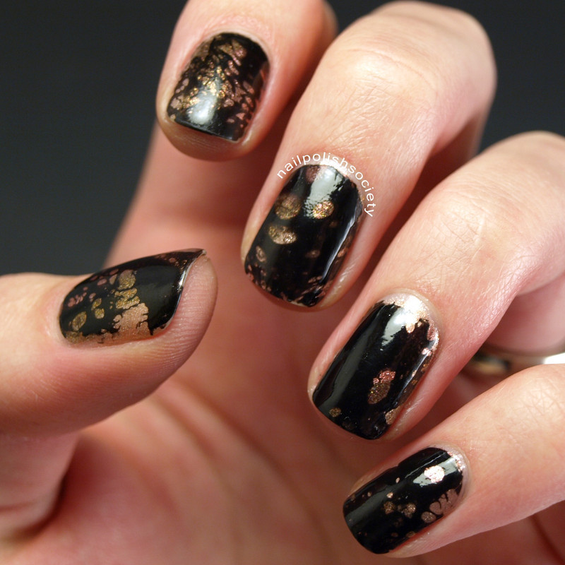 Black and Metallic Water Spotted Nails nail art by Emiline Harris