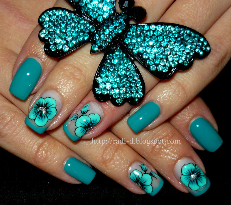 Turquoise Flower nail art by Radi Dimitrova - Turquoise Flower Nail Art By Radi Dimitrova - Nailpolis: Museum Of