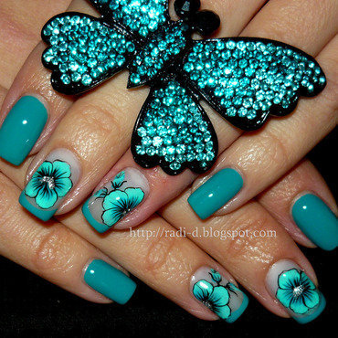 Turquoise Flower nail art by Radi Dimitrova