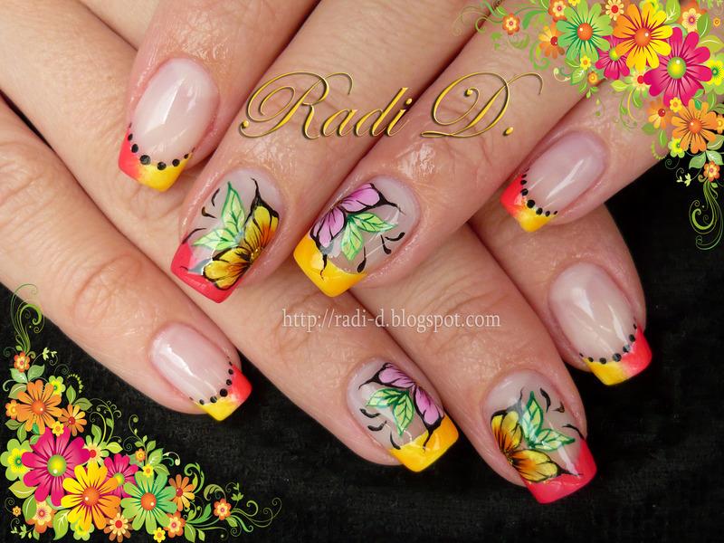 Neon Tips & Flowers nail art by Radi Dimitrova - Nailpolis: Museum ...