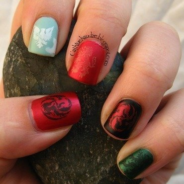 Game of Thrones stamping nail art by Vedrana Brankovic