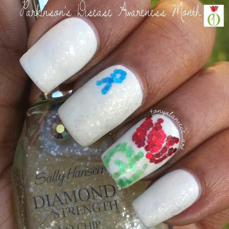 Parkinson's Disease Awareness Manicure nail art by Tonya