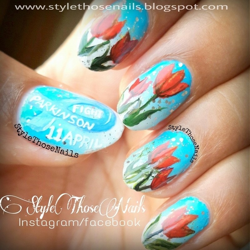 World Parkinson's Day - Red Tulip Nails nail art by Anita Style Those Nails