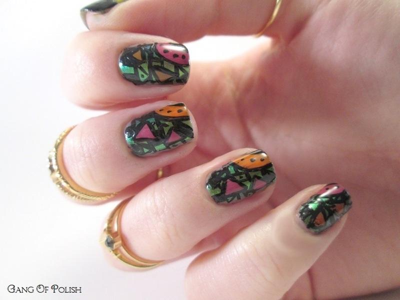 Colored Aztecs nail art by Gang Of Polish