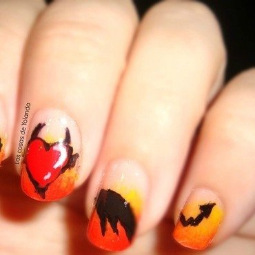 Amor en llamas nail art by Yolanda flores