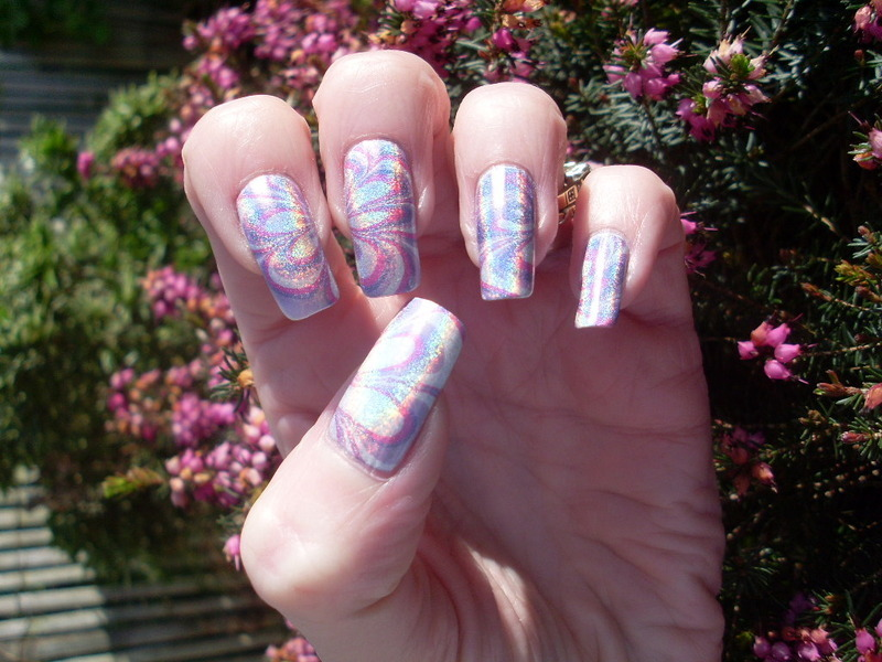 Holographic Water Marble nail art by Tracey - Bite no more ...
