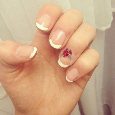 French Tip Roses nail art by Norbly