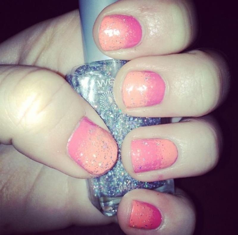 Orange/pink sparkly ombré nail art by Kayla - Nailpolis: Museum of ...