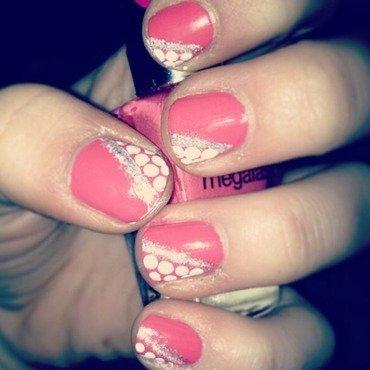 Pink and polka dots nail art by Kayla