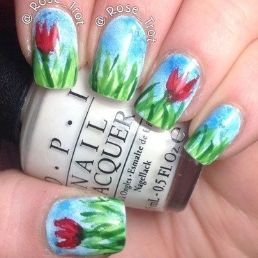 Sketchy tulips nail art by Rose_Trot