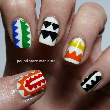 Inspired by Mara Hoffman nail art by Pound Store Manicure