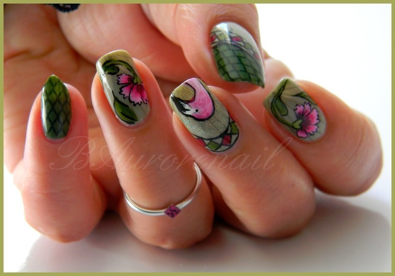 Flamingo nail art by BAurorenail