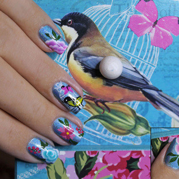 Bird  nail art by Lizana Nails