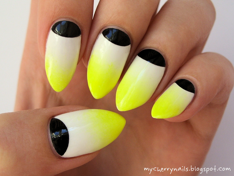 Neon gradient with half moon nail art by Pauline
